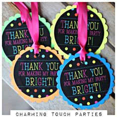Girl Neon Birthday Party favor tags. Set of 18. Party decor/ decorations. Fully assembled and customizable. by CharmingTouchParties on Etsy
