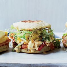 This irresistible breakfast is a hybrid of an egg salad sandwich and an Egg McMuffin. It combines spicy, pickle-laced egg salad on a toasted English muffin with warm smoky ham and crispy frisée. Recipe: Ham and Deviled Egg Breakfast Sandwiches Mega Sandwich, Breakfast Sandwich Recipes, Eat Breakfast, Breakfast Casserole, Breakfast Ideas, Leftover Ham Recipes, Egg Recipes, Wine Recipes, Brunch Recipes