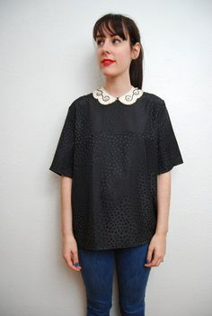 vintage 1980s / simple / black / polka dot / silky blouse by YeYe, $28.00