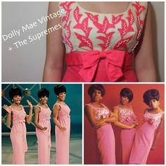 We love these mid-century Motown divas, and they sure know how to pull off a pink beaded wiggle dress. Our very own Supremes - worthy version captures the classic 1960s silhouette, and is perfect for a special summer night out!   » Shop: https://www.etsy.com/listing/127442974/1960s-wiggle-dress-pink-and-white-beaded