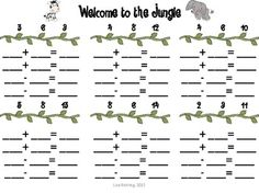 """Here's a jungle-themed fact family activity where students """"hang"""" animals on a vine with matching numbers. Includes facts to sums of Teaching Math, Maths, Math For 1st Graders, Summer School Activities, Family Practice, Fact Families, Welcome To The Jungle, Math Facts, Math Centers"""