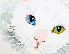 No Dirty Work Please - White cat blue and green eyes - This little kittys eyes are like gemstones, sparkling in the light.  ♥ Archival print of my