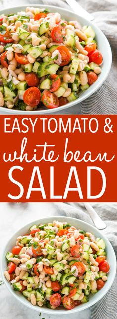 This White Bean Salad with Tomatoes is the perfect fresh salad that's packed with veggies and protein! Healthy and vegetarian! Recipe from thebusybaker.ca! #salad #protein #healthyeating #whitebeans #italian #vegetarian #vegan #health #weightloss via @busybakerblog Vegetarian Main Dishes, Healthy Side Dishes, Veggie Dishes, Best Salad Recipes, Healthy Recipes, Skinny Recipes, Amazing Recipes, Delicious Recipes, Kitchen Recipes