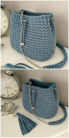 Bag crochet made - # crochet # made . Crochet Backpack Pattern, Free Crochet Bag, Mode Crochet, Bag Pattern Free, Crochet Tote, Crochet Handbags, Crochet Purses, Crochet Crafts, Knit Crochet