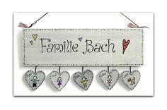 Shabby Türschild Familie Wunschtext von byAnnoDomini auf DaWanda.com