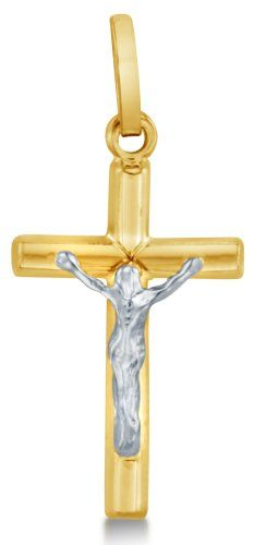 with 18 Rolo Chain 28mm x 23mm 14K Two-Tone Gold Small//Mini Religious Crucifix Charm Pendant