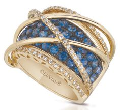 Levian-gladitor-web-Apr.2013,rose gold ring set diamonds and blue sapphires