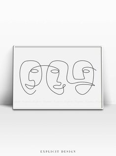 Abstract Carnival Face Printable, One Line Child Like Drawing Print, Black White Artwork, Minimalist Emoji Faces, Luxury Mask Wall Art Decor. INSTANT DOWNLOAD This listing is for a DIGITAL FILE of this artwork. No physical item will be sent. You can print the file at home, at a local