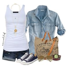 Super casual look. White tank denim shirt and converse. Love the bag too Look Camisa Jeans, Spring Summer Fashion, Spring Outfits, Casual Outfits, Fashion Outfits, Womens Fashion, Moda Chic, Mein Style, Denim Shirt