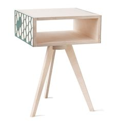 Hexa Bedside Table - Green Screen Hexagon Pattern, Creature Comforts, Table Legs, Bedside, Green, Design, Home Decor, Comforters, Interior Design