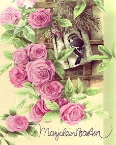 Little bird with roses by Marjolein Bastin, scanned by marquiselem