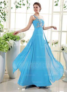 Festliche Kleider - $155.99 - A-Linie/Princess-Linie One-Shoulder-Träger Bodenlang Chiffon Festliche Kleid mit Rüschen Perlen verziert Applikationen (020015432) http://amormoda.de/A-linie-Princess-linie-One-shoulder-traeger-Bodenlang-Chiffon-Festliche-Kleid-Mit-Rueschen-Perlen-Verziert-Applikationen-020015432-g15432