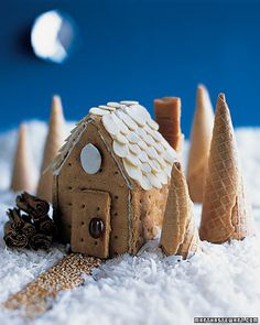 great idea for the gingerbread house to use cones as trees, I would put icing or somthing on them however to make them look real!