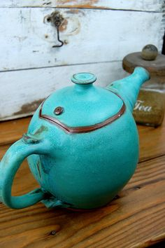 Large Turquoise Teapot by pagepottery on Etsy, $90.00