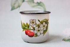 Cherry Blossom Mug / Cute Soviet Vintage White Enamel Mug / Chipped Up Ukrainian Botanical Camping, Picnic Tea Cup - pinned by pin4etsy.com