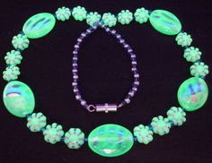 "16"" 410mm Czech Glass Beads Necklace Uranium Mint Green Vtg UV Glowing by MuchMoreThanButtons on Etsy"