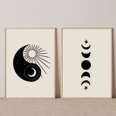 Sun Drawing, History Tattoos, Mid Century Wall Art, Living Room Prints, Moon Decor, Moon Print, Hanging Art, Decoration, Printable Art