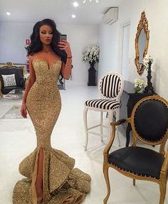 Outlet Delightful Mermaid Prom Dresses Straps Gold Sequins Mermaid Long Prom Dress Evening Dress With Slit Mermaid Prom Dress Prom Dresses Long Evening Dresses Prom Dresses Long Elegant Dresses, Pretty Dresses, Sexy Dresses, Beautiful Dresses, Formal Dresses, Dresses 2016, Midi Dresses, Formal Prom, Formal Wedding