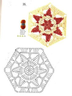 Motif with diagram Crochet Stars, Crochet Blocks, Crochet Mandala, Crochet Granny, Cute Crochet, Crochet Motif, Crochet Stitches, Crochet Doilies, Crochet Patterns