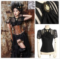 Rq-bl sp087 steampunk #gothic #black blouse shirt victorian octopus #brosche jabo,  View more on the LINK: http://www.zeppy.io/product/gb/2/322377699880/