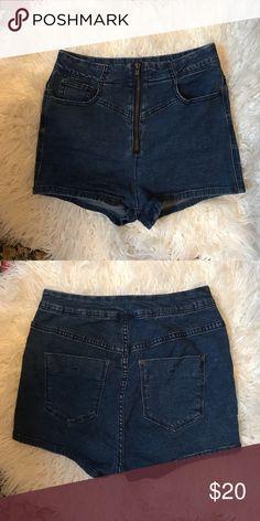 highwaisted denim shorts zip up highwaisted denim shorts. no flaws Urban Outfitters Shorts Jean Shorts