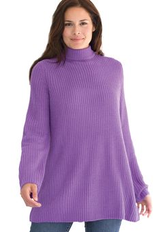 Sweater, pullover swing style, in Shaker stitch with mock turtleneck   Plus Size Sweaters   Woman Within