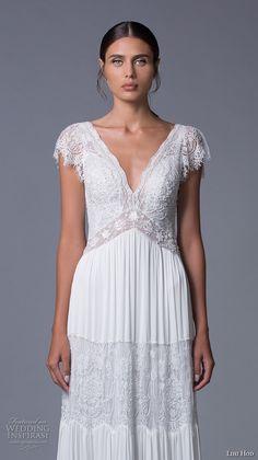 lihi hod 2017 bridal cap sleeves v neck heavily embellished bodice bohemian lace romantic a  line wedding dress v back sweep train (luella) zv