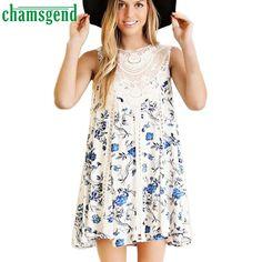 CHAMSGEND Good Deal  Summer Beach  Womens Casual Chiffon Sleeveless Lace Splice Floral Printed Ladies Dress_U00442