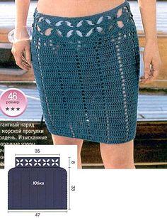 Blue Flower Border Skirt free crochet graph pattern