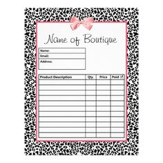 37 best business cards order forms etc images on pinterest in trendy black and white leopard print order forms flyer flashek Images