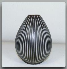 Helge Østerberg Own Studio Black Stoneware Vase with Incised White Stripes   eBay