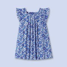 Pleated Liberty print dress - Girl - BLUE/DEEP PURPLE - Jacadi Paris