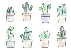 A free vector illustration of eight different types of cacti. Hope you enjoy it!