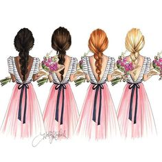 """The """"Bouquet"""" girls come in four different color options… by - Square Pics Best Friend Pictures, Bff Pictures, Pictures To Draw, Best Friend Drawings, Girly Drawings, Bff Pics, Best Friend Wallpaper, Girly M, Cute Friends"""