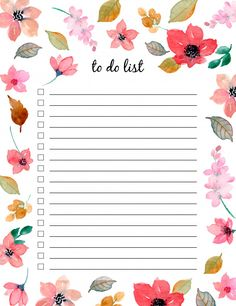 To do list with floral watercolor Premiu. Bullet Journal Banner, Bullet Journal Books, Bullet Journal Ideas Pages, Daily Planner Pages, Weekly Planner Printable, Printable Calendars, Daily Planners, Write On Pictures, September Wallpaper