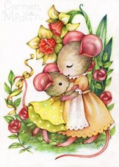 You Are Loved - cute mouse mother and child Carmen Medlin Maus Illustration, Illustrations, Cute Animal Drawings, Cute Drawings, Cute Images, Cute Pictures, Cute Animal Clipart, Pet Mice, Hamsters