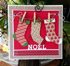 card socks christmas stocking clothesline - kort jul sokker strømper sløjfe - Bas de Noël