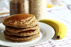 """Try these delicious Bananarama Maple Pancakes for 0 Points. 0 Points for Pancakes! Serve these with the delicious Blueberry """"Syrup"""" recipe that is also 0 Points for a sweet breakfast. Whey Protein Pancakes, Pancakes Vegan, Oatmeal Pancakes, Waffles, Buckwheat Pancakes, Pumpkin Pancakes, Raspberry Pancakes, Chocolate Pancakes, Fluffy Pancakes"""