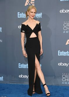 Kidman, 49, flashed some leg in an off-the-shoulder Brandon Maxwell gown with sexy slit