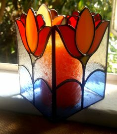 Leadglass, candle