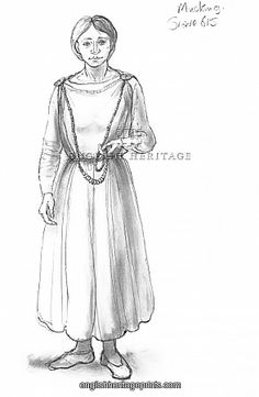 Anglo-Saxon woman N090543 Mucking, Essex. Reconstruction drawing by Judith Dobie (English Heritage Graphics Team) showing a female wearing a tubular gown or peplos fastened by two brooches. Grave 615. English Heritage.