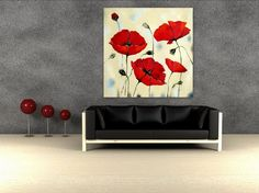 Oil - Acrylic painting Red poppies flower painting on high quality canvas - mixed media - contemporary art - Huge 51 x 51 - XXXL. $325.00, via Etsy.
