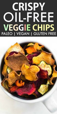 Oil Free Baked Veggie Chips (Paleo, Vegan, Gluten Free) An easy savory snack recipe ready in under 20 minutes! Crunchy, crispy and a guilt-free snack made with no fat or oil! - thebigmansworld.com
