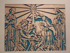 nativity woodcut