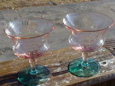 Watermelon Depression Glass stemware