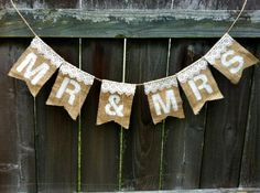 burlap and lace wedding ideas | Mr & Mrs Banner Burlap and Lace Wedding Sign Photo Prop- Etsy by ...