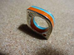 anillo de plata 950 & acrilico