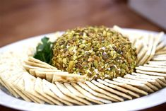 Pistachio Crusted Cream Cheese Ball with Saltines