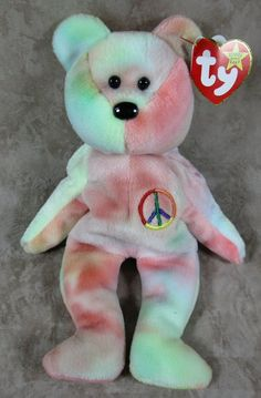 f29fb93a035 TY Beanie Baby 1996 Peace Tye-Died Bear P.E.China Red Star Tag  102