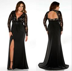 2015 Plus Size Prom Dresses Lady Evening Gown Formal With Mermaid V Neck Long Sleeve Backless Beads Sequins Crystal Black Lace Side Split